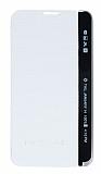 LG Stylus 2 / Stylus 2 Plus Pencereli İnce Yan Kapaklı Beyaz Kılıf