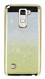 LG Stylus 2 / Stylus 2 Plus Simli Parlak Gold Silikon Kılıf