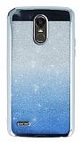 LG Stylus 3 Simli Parlak Mavi Silikon Kılıf