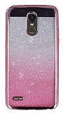 LG Stylus 3 Simli Parlak Pembe Silikon Kılıf