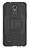 LG Stylus 3 Süper Koruma Standlı Siyah Kılıf