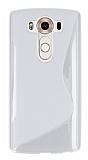 LG V10 Desenli �effaf Beyaz Silikon K�l�f