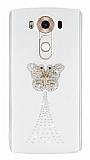 LG V10 Taşlı Kelebek Şeffaf Silikon Kılıf