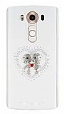 LG V10 Taşlı Love Şeffaf Silikon Kılıf