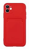 iPhone 12 6.1 inç Kartlıklı Kamera Korumalı Kırmızı Kılıf