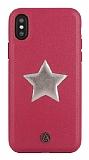 Luna Aristo Astro Serisi iPhone X / XS Gerçek Deri Bordo Kılıf