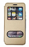 Samsung Galaxy M51 Çift Pencereli Kapaklı Gold Kılıf