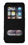 Samsung Galaxy M51 Çift Pencereli Kapaklı Siyah Kılıf