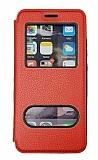 Samsung Galaxy M51 Çift Pencereli Kapaklı Kırmızı Kılıf
