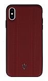 Maserati iPhone XS Max Deri Kırmızı Rubber Kılıf
