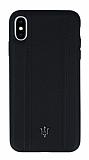 Maserati iPhone XS Max Deri Siyah Rubber Kılıf