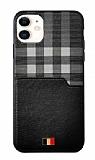 Mentor VII iPhone 12 / 12 Pro 6.1 inç Kartlıklı Siyah Gerçek Deri Kılıf