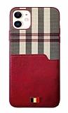 Mentor VII iPhone 12 / 12 Pro 6.1 inç Kartlıklı Kırmızı Gerçek Deri Kılıf