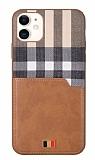 Mentor VII iPhone 12 / 12 Pro 6.1 inç Kartlıklı Kahverengi Gerçek Deri Kılıf