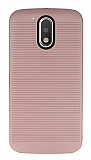 Motorola Moto G4 / G4 Plus Silikon Kenarlı Rose Gold Kılıf