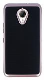 Motomo General Mobile GM 5 Plus Rose Gold Kenarlı Siyah Silikon Kılıf