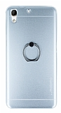 Motomo HTC Desire 728G Selfie Yüzüklü Metal Silver Rubber Kılıf