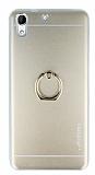 Motomo HTC Desire 728G Selfie Yüzüklü Metal Gold Rubber Kılıf