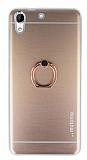 Motomo HTC Desire 728G Selfie Yüzüklü Metal Rose Gold Rubber Kılıf