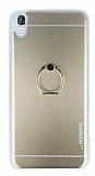 Motomo HTC Desire 820 Selfie Yüzüklü Metal Gold Rubber Kılıf