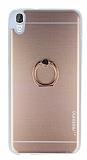 Motomo HTC Desire 820 Selfie Yüzüklü Metal Rose Gold Rubber Kılıf