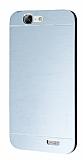 Motomo Huawei Ascend G7 Metal Silver Rubber Kılıf