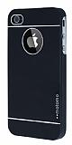 Motomo iPhone 4 / 4S Metal Siyah Rubber Kılıf