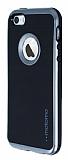 Motomo iPhone SE / 5 / 5S Dark Silver Kenarlı Siyah Silikon Kılıf