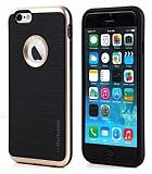 Motomo iPhone 6 / 6S Gold Kenarlı Siyah Silikon Kılıf