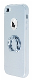 Motomo iPhone SE / 5 / 5S Selfie Y�z�kl� Metal Silver K�l�f