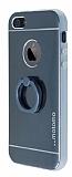 Motomo iPhone SE / 5 / 5S Selfie Y�z�kl� Metal Siyah K�l�f