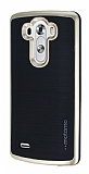 Motomo LG G3 Gold Kenarlı Siyah Silikon Kılıf