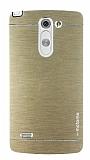 Motomo LG G3 Stylus Metal Gold Rubber K�l�f