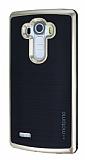 Motomo LG G4 Gold Kenarlı Siyah Silikon Kılıf