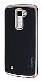 Motomo LG K10 Rose Gold Kenarlı Siyah Silikon Kılıf