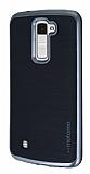 Motomo LG K10 Dark Silver Kenarlı Siyah Silikon Kılıf