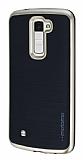 Motomo LG K10 Gold Kenarl� Siyah Silikon K�l�f