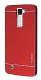Motomo LG K8 Metal Kırmızı Rubber Kılıf