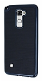 Motomo LG Stylus 2 / Stylus 2 Plus Lacivert Kenarlı Siyah Silikon Kılıf