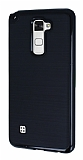 Motomo LG Stylus 2 / Stylus 2 Plus Siyah Kenarlı Siyah Silikon Kılıf