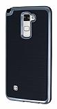 Motomo LG Stylus 2 / Stylus 2 Plus Dark Silver Kenarlı Siyah Silikon Kılıf