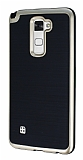 Motomo LG Stylus 2 / Stylus 2 Plus Gold Kenarlı Siyah Silikon Kılıf