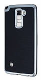 Motomo LG Stylus 2 / Stylus 2 Plus Silver Kenarlı Siyah Silikon Kılıf
