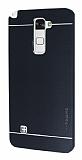 Motomo LG Stylus 2 / Stylus 2 Plus Metal Siyah Rubber Kılıf