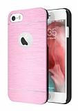 Motomo iPhone 6 Plus / 6S Plus Metal Pembe Rubber Kılıf