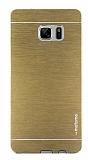 Motomo Samsung Galaxy Note FE Metal Gold Rubber Kılıf