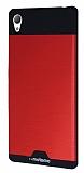 Motomo Round Sony Xperia Z3 Metal Kırmızı Rubber Kılıf