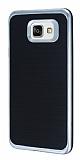 Motomo Samsung Galaxy A7 2016 Silver Kenarlı Siyah Silikon Kılıf