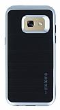 Motomo Samsung Galaxy A7 2017 Silver Kenarlı Siyah Silikon Kılıf