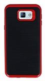 Motomo Samsung Galaxy A8 2016 Kırmızı Kenarlı Siyah Silikon Kılıf